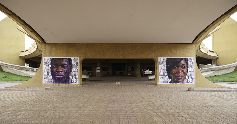 Going where ? Version I and II. Acrylic paint on print 250x350cm. Completed on location for The Yango Biennale 2014 in Congo Kinshasa DRC.