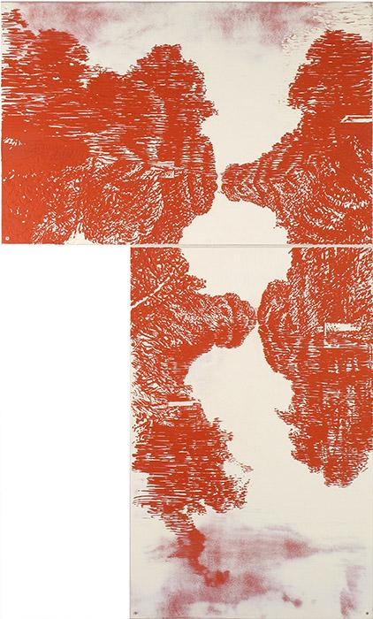 Flodlandskap / River-landscape. Emultionsfärg och gravyr på mdf i 2 delar, 158x95cm