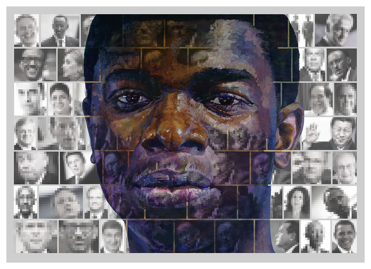 Où aller? Oil on print 100x140cm. For Yango Biennale 2014 . Congo Kinshasa