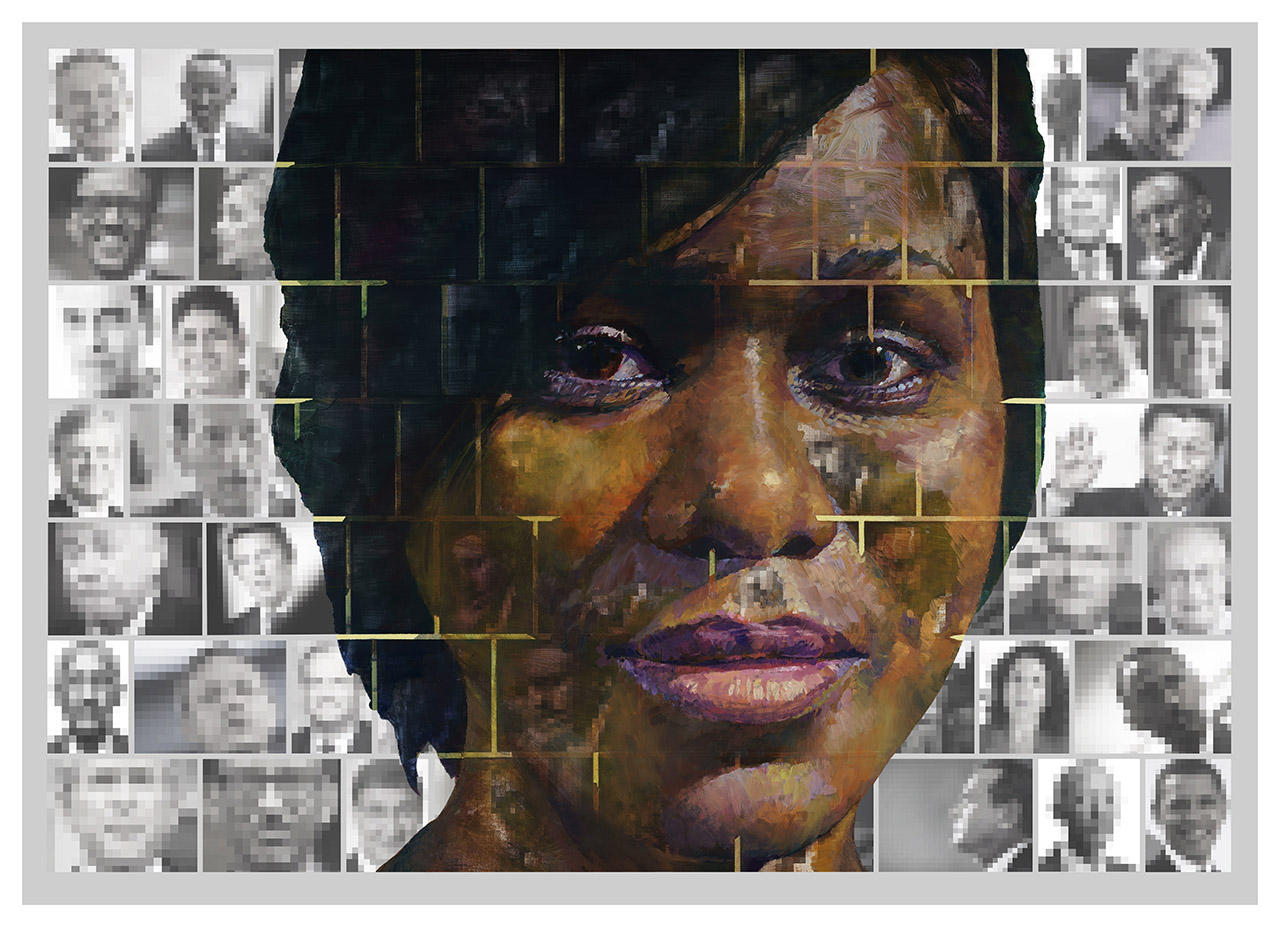 Où aller? Oil on print 100x140cm. For Yango Biennale 2014. Congo Kinshasa. Nils Ramhøj