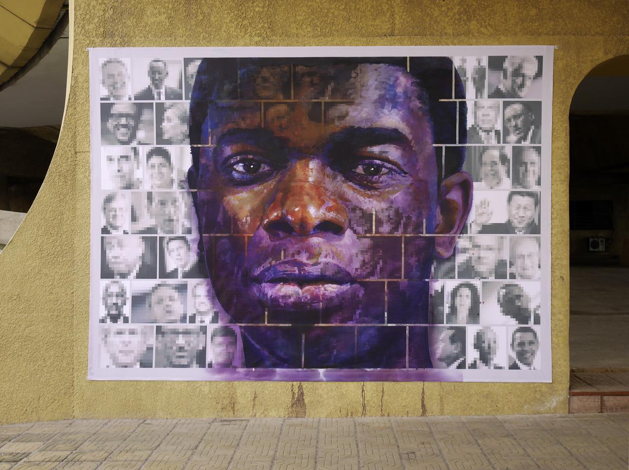 Où aller? Going where? Young man. Acrylic paint on print 250 x 350cm. For Yango Biennale 2014. Congo Kinshasa