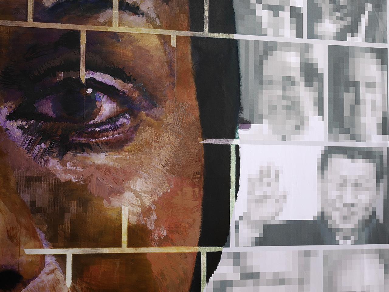 Où aller? Going where? Young woman. Detail 2. Acrylic paint on print 250 x 350cm. For Yango Biennale 2014. Congo Kinshasa