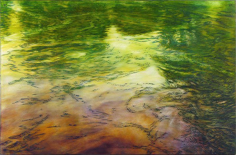 Vattenspegel, Kaggeleds Äldreboende 2012. 100x150 x 1,0cm. Olja på plexi.