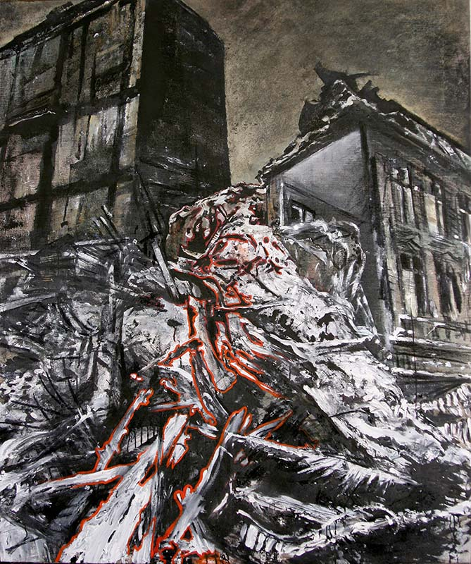 While everybody are asleep ... Mixed media on canvas !63x136cm