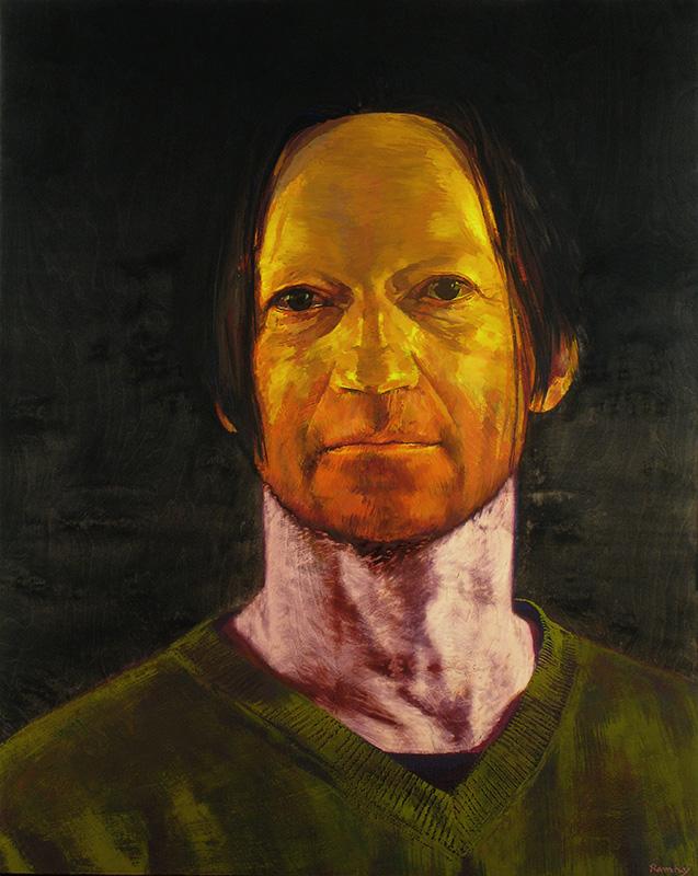 Self-portrait with mask. Vinyl on wood, 125x100 cm.