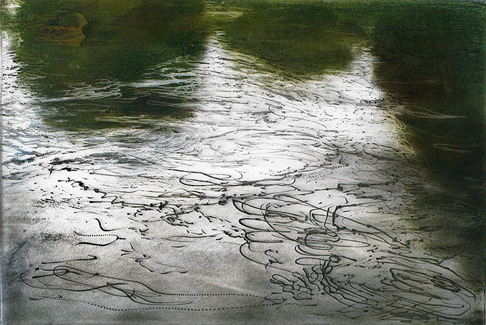 The River 1. Grez 2001. Oil on plexi 27x40cm