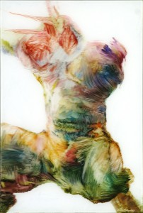 Torso. Oil on plexi 2010 40x27cm Privat collection