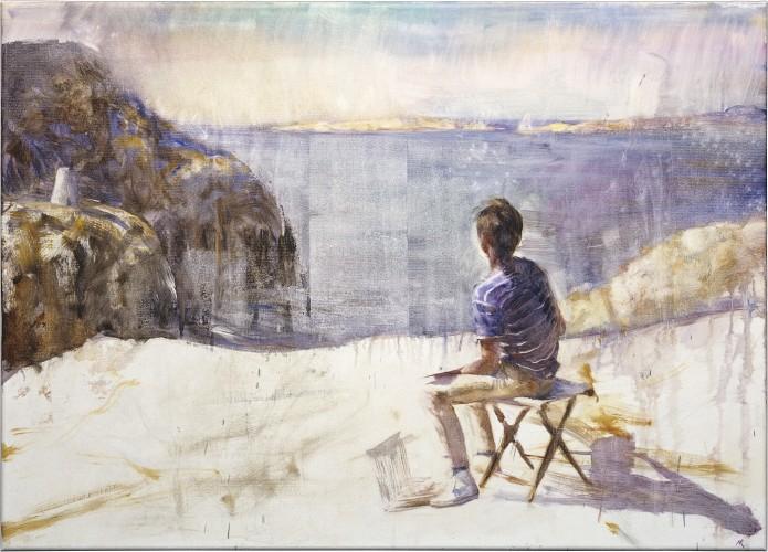 Boy on a rock. Oil on canvas 163x117cm