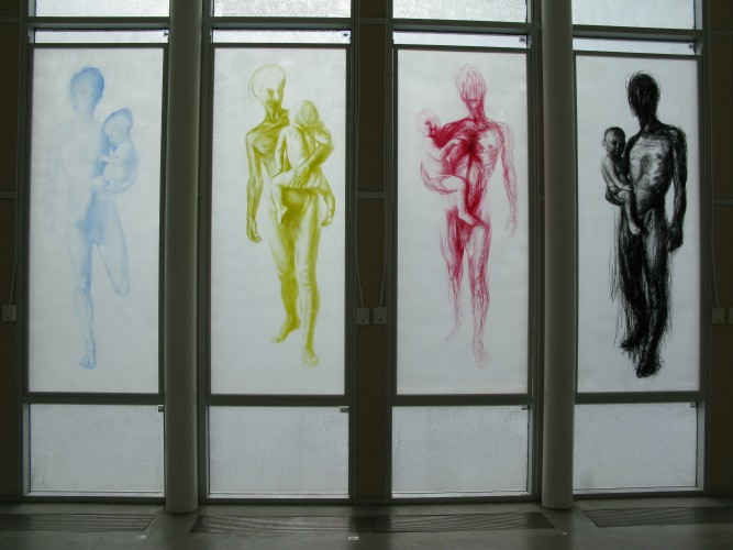 Wax drawings on acrylic glass. Gallery installation.